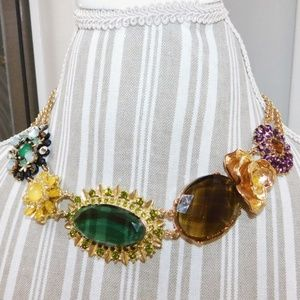 BR Flower statement jeweled, gold necklace